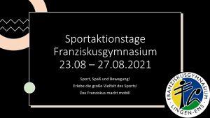+++Neue Informationen+++ Sport, Spaß und Bewegung bei den Sportaktionstagen im August